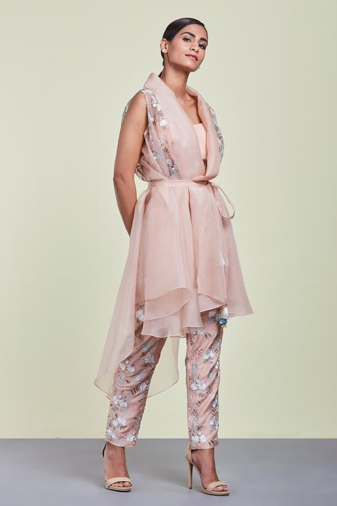 Embroidered Organza Jacket with Pant