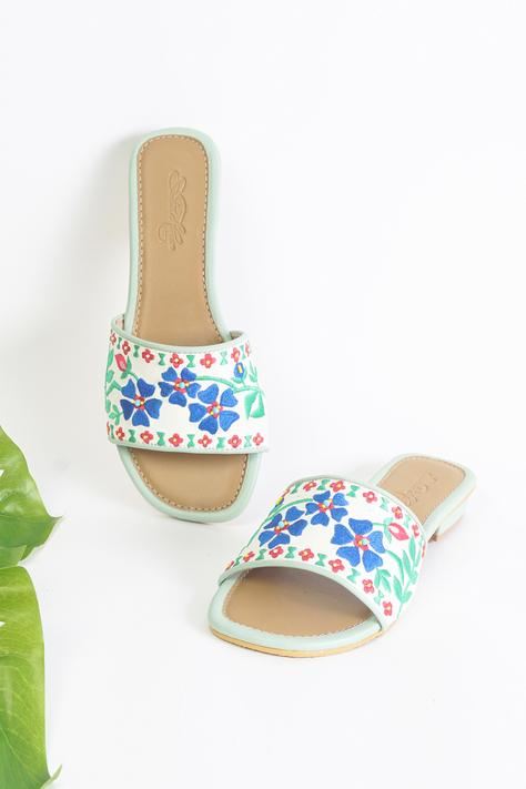 Vegan Leather Floral Embroidered Sliders