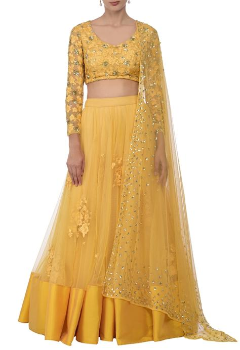 Canary yellow floral embroidered lehenga set