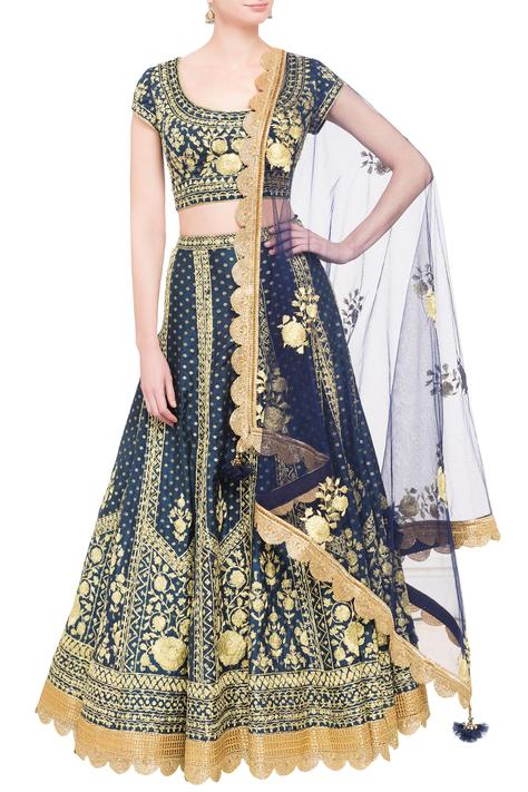Royal blue brocade dori work lehenga set