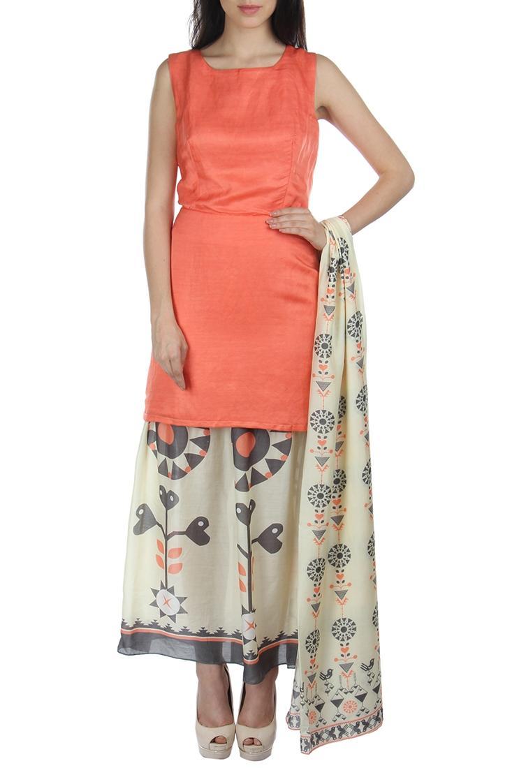 Peach & white motif printed dress with dupatta