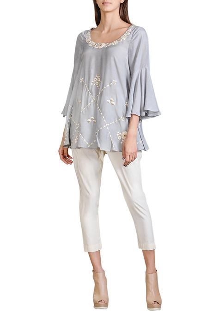 Sky grey floral tunic