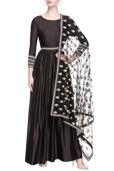 Black embroidered anarkali with dupatta