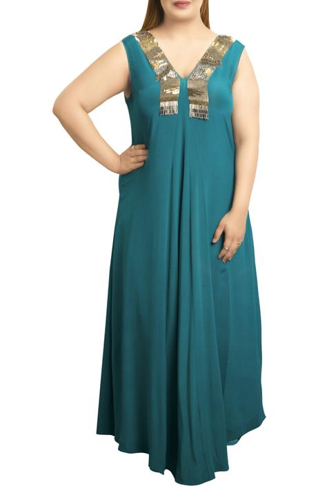 Crepe v-neck hand embroidered sequin gown