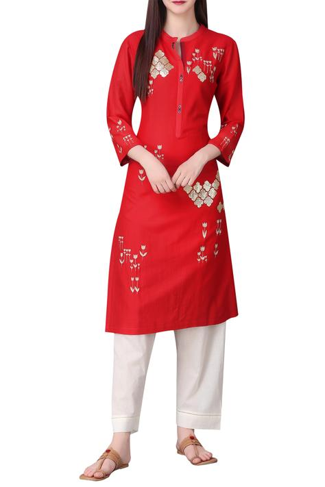 Gold motif embroidered tunic