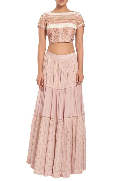 Crepe chiffon embroidered lehenga with blouse