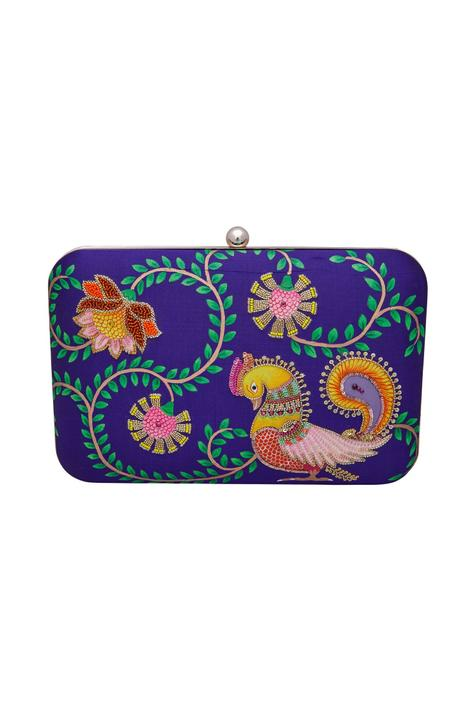Silk hand painted & embroidered box clutch