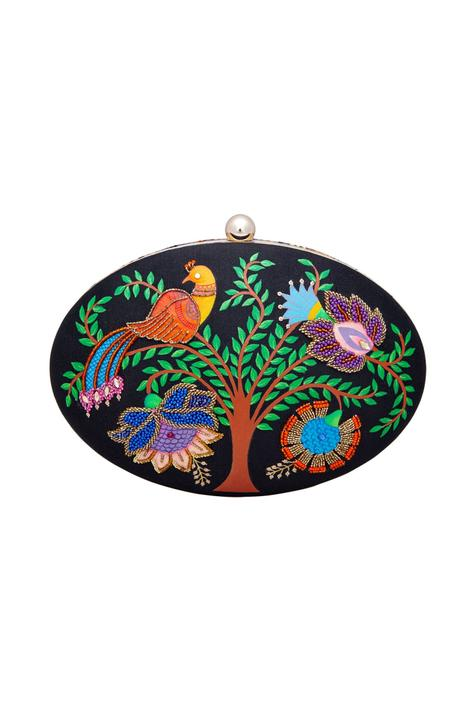 Tree and bird motifs embroidered clutch