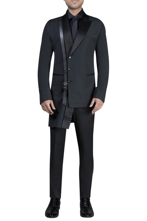 Asymmetric jacket with shirt & trousers