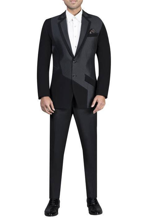 Notch with quilted detail jacket,trousers and shirt
