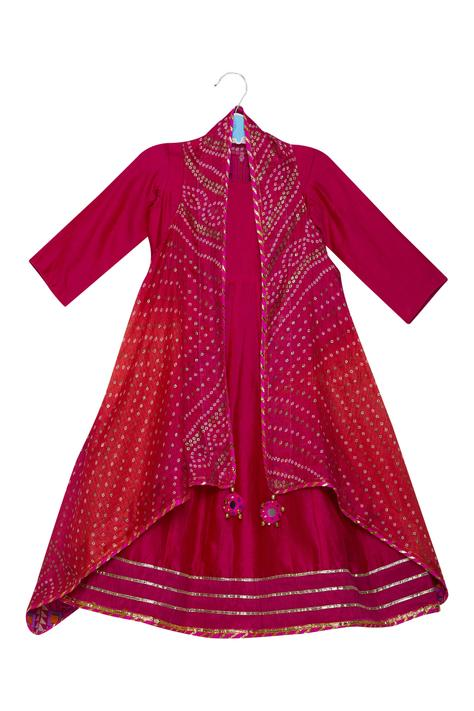 Chanderi Anarkali with Printed Cape