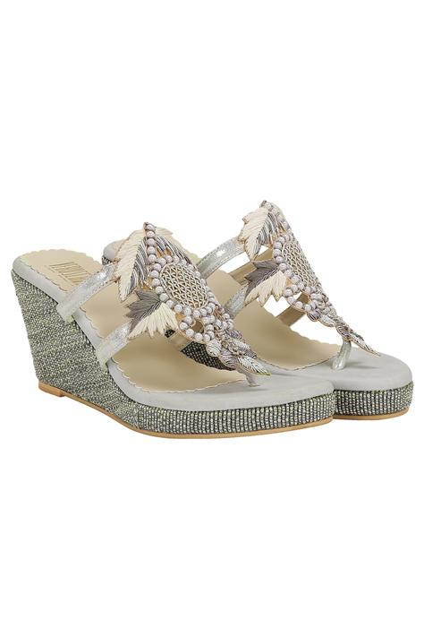 Zardozi & pearl work slip-on wedges