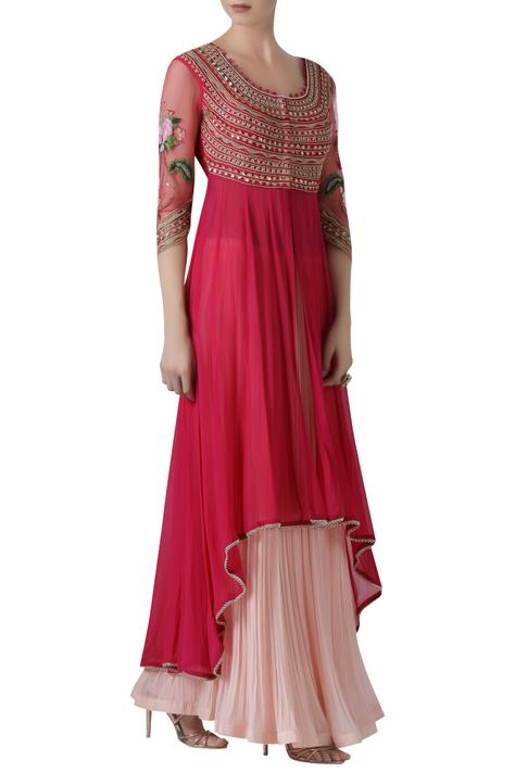Asymmetric Kurta and Crinkled Lehenga Set