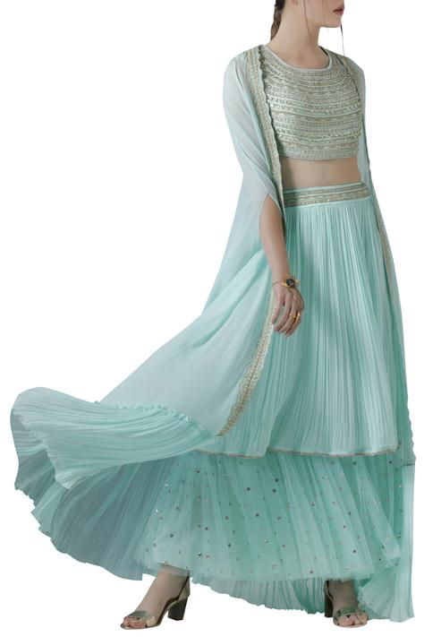 Embroidered Blouse and Layered Skirt with Cape