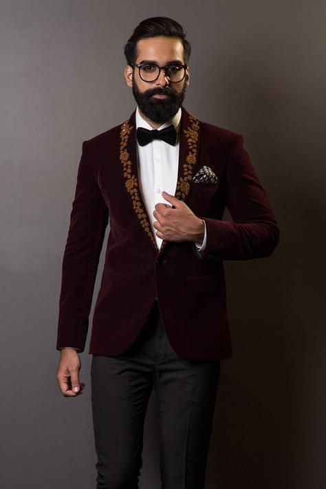 Velvet Embroidered Blazer