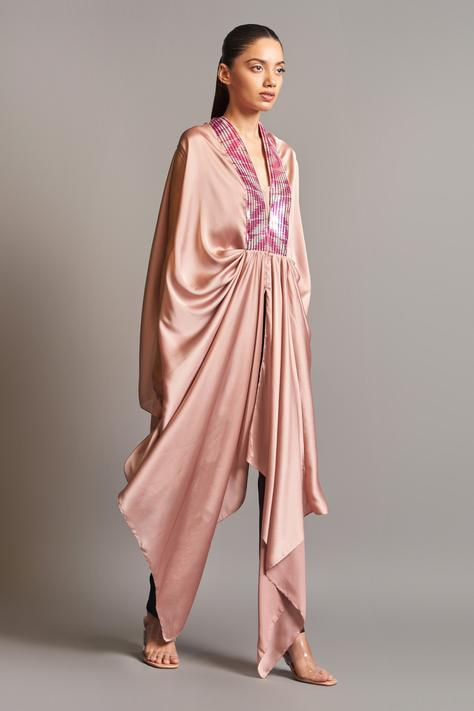Metallic Draped Asymmetric Cape
