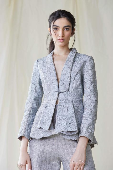 Embroidered Organza Blazer
