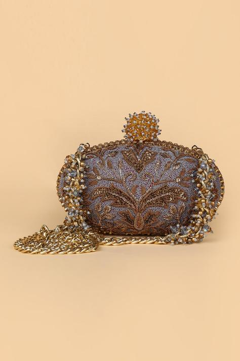 Embroidered Oval Clutch