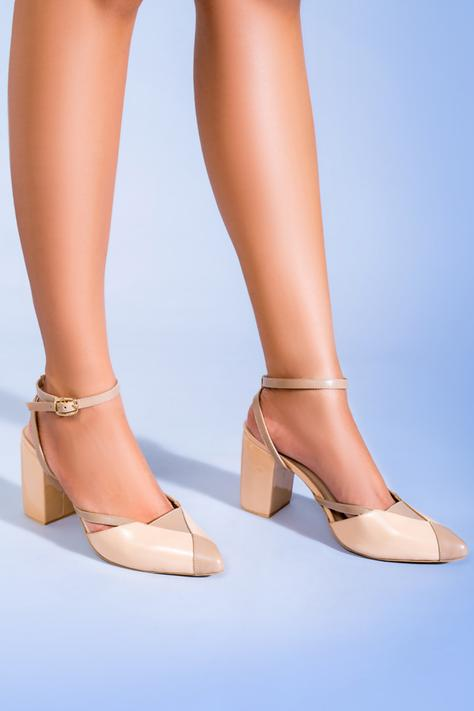 Camille Pointed Toe Colorblock Block Heels