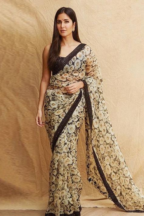 Organza Printed Saree with Unstitched Blouse Fabric