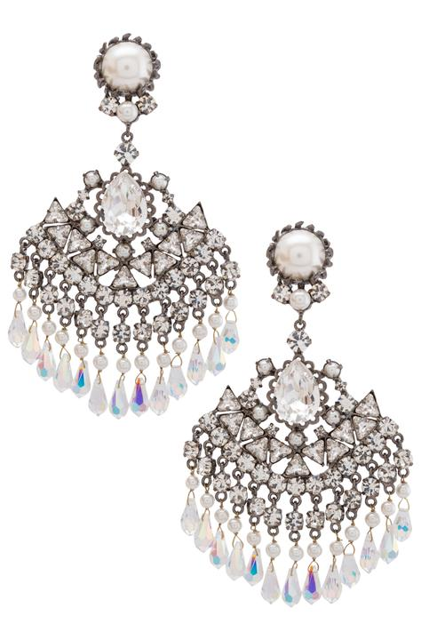 Pearls & crystals windfall earrings