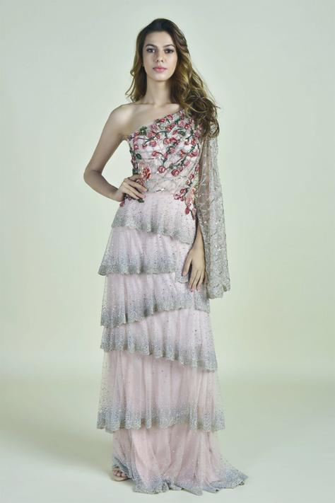 Layered One Shoulder Gown