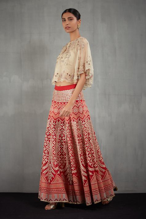 Embroidered Pant Set with Organza Cape