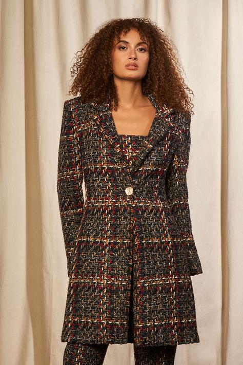 Textured Tweed Jacket with Crop Top