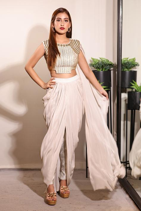 Embroidered Blouse & Dhoti Pant Set
