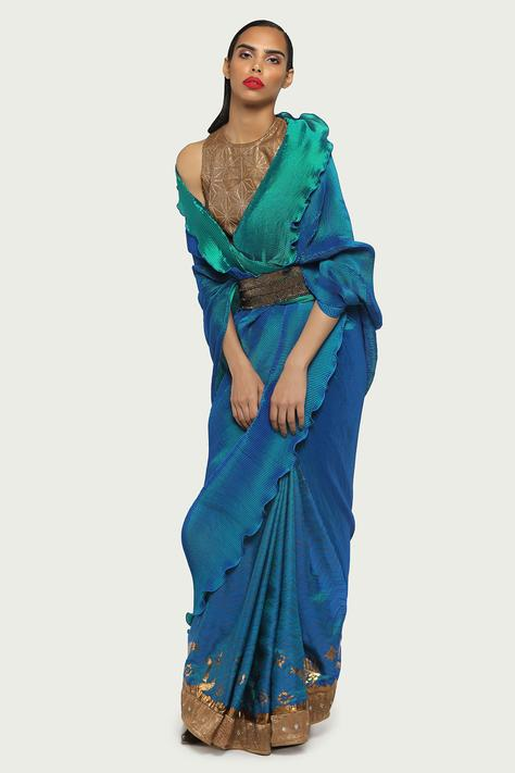 Pleated Saree with Unstitched Blouse Fabric