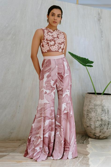 Hand Embroidered Crop Top with Flared Pant