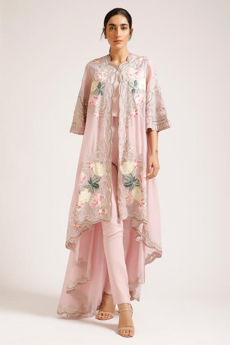 Organza Embroidered Jacket with Inner
