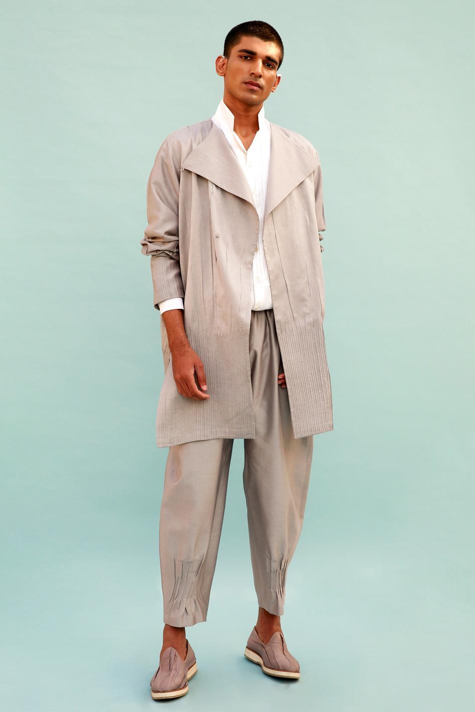 Cotton Silk Pintuck Pant