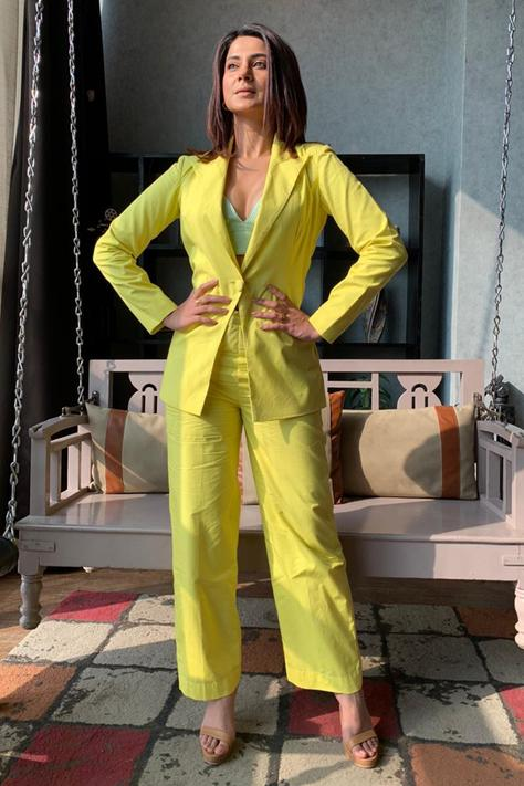 Single Breasted Blazer with Pant Set