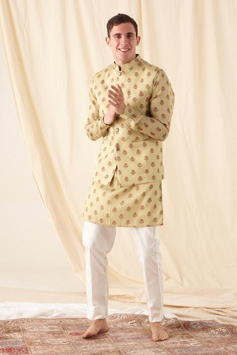 Printed Silk Bundi & Kurta Set