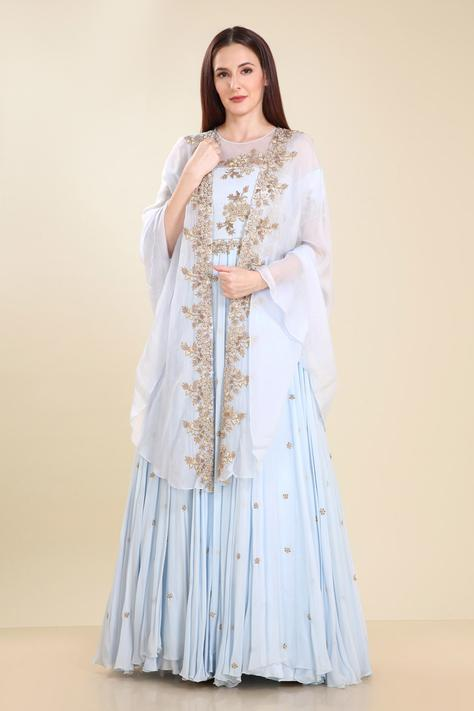 Embroidered Cape & Gown Set