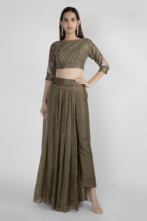 Embroidered Crop Top & Pant Set