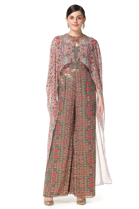 Printed Jumpsuit with Cape