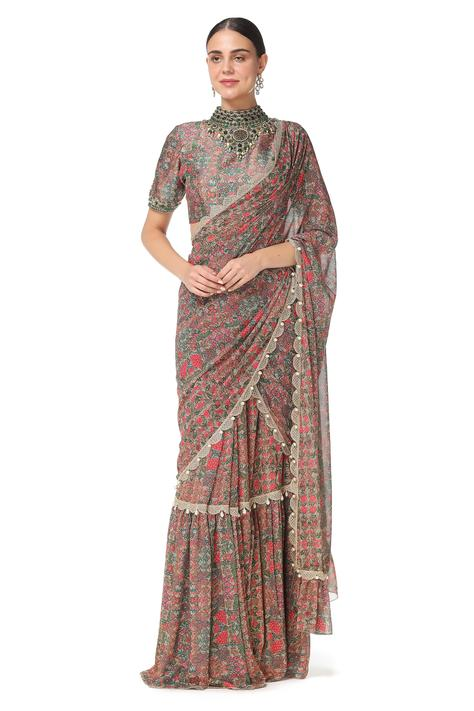Printed Pre-Draped Saree with Blouse
