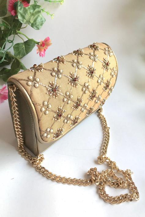 Silk Embroidered Flap Sling Bag