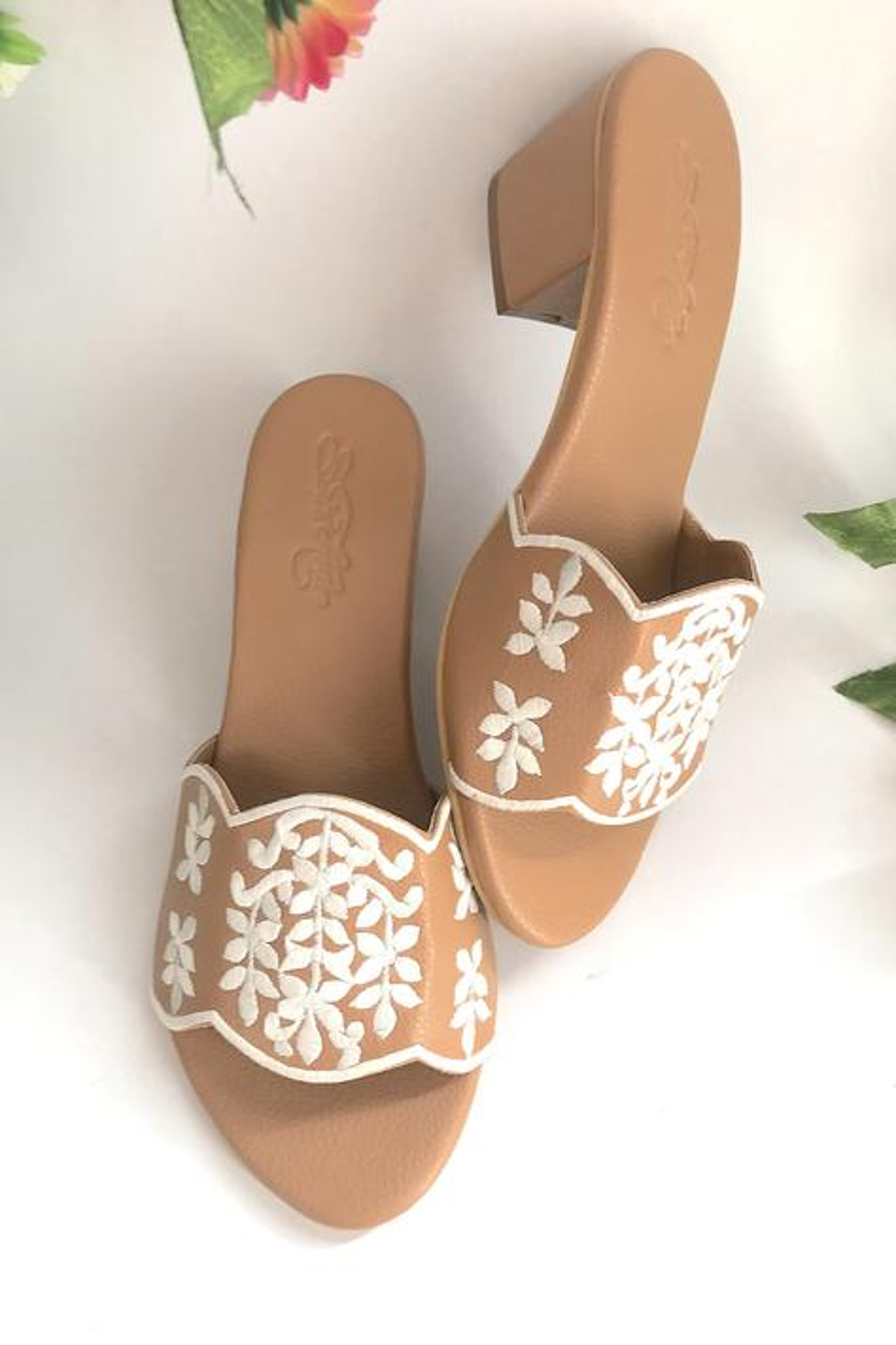 Embroidered Block Heels