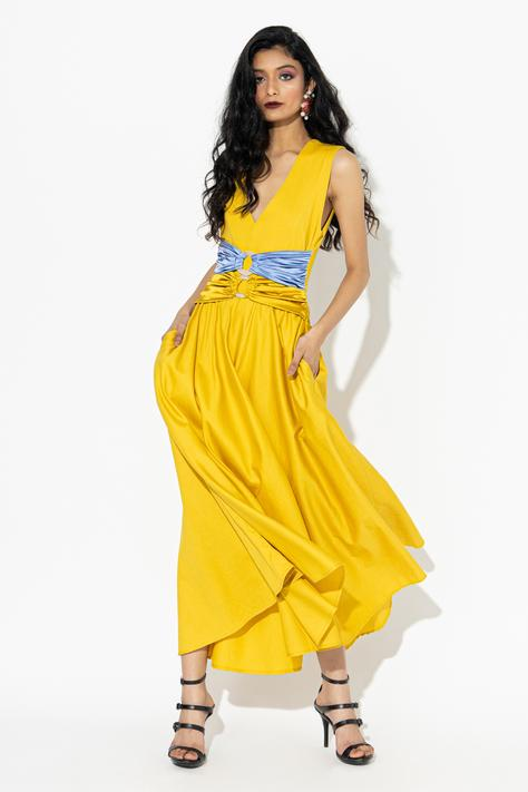 A-line Dress with Satin Belts