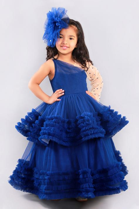 One Shoulder Tiered Ruffle Gown