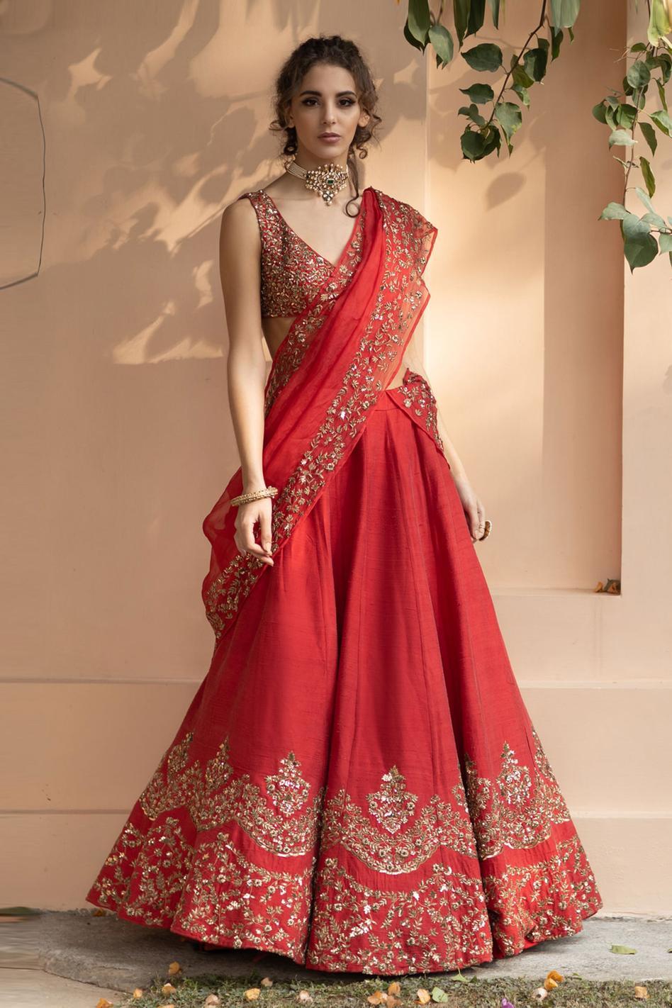 Embellished Silk Lehenga Set
