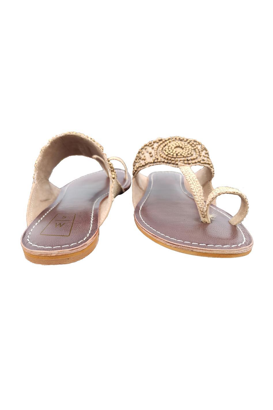 Jute Bead Embroidered Kolhapuri Sandals