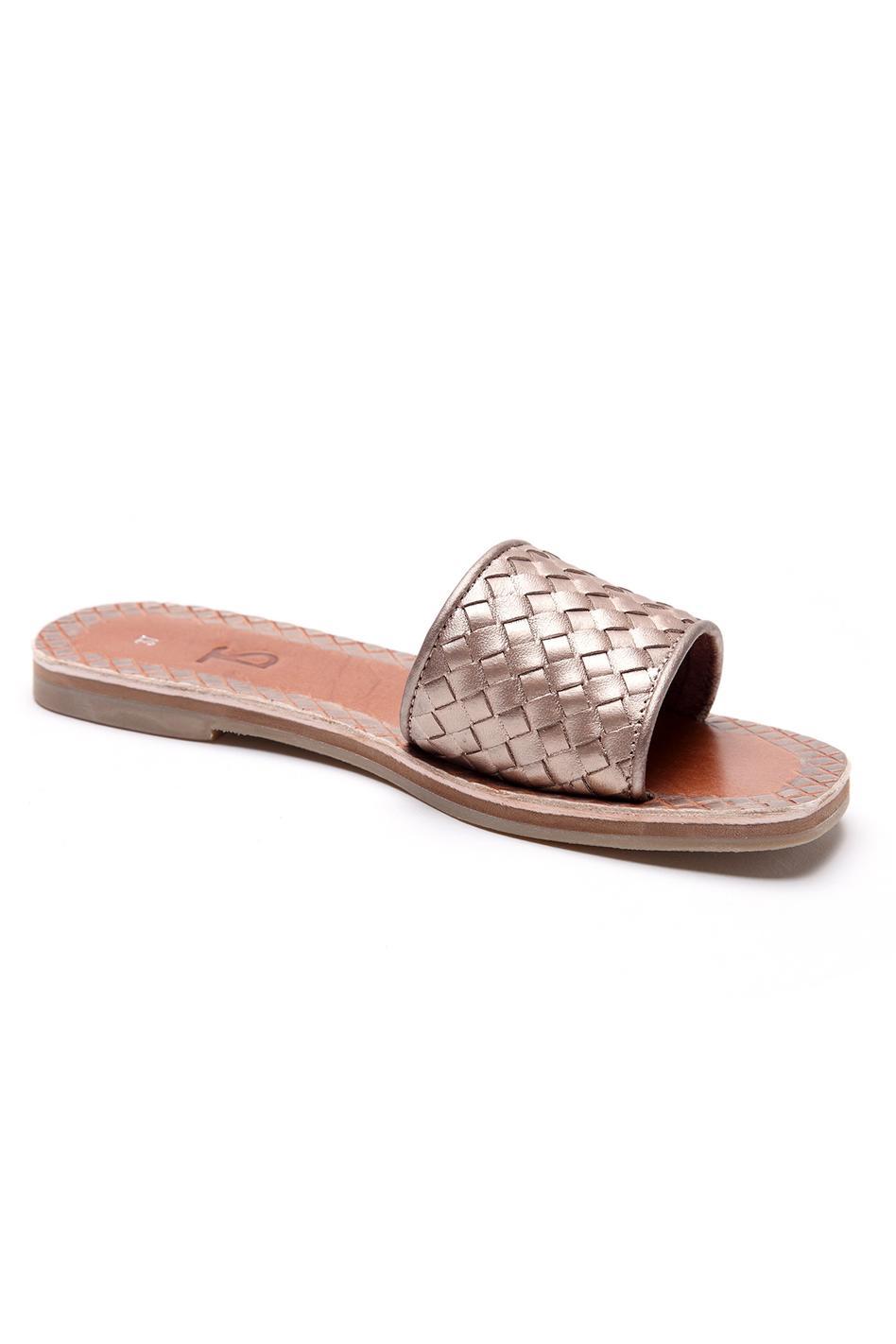 Metallic Textured Strap Sliders