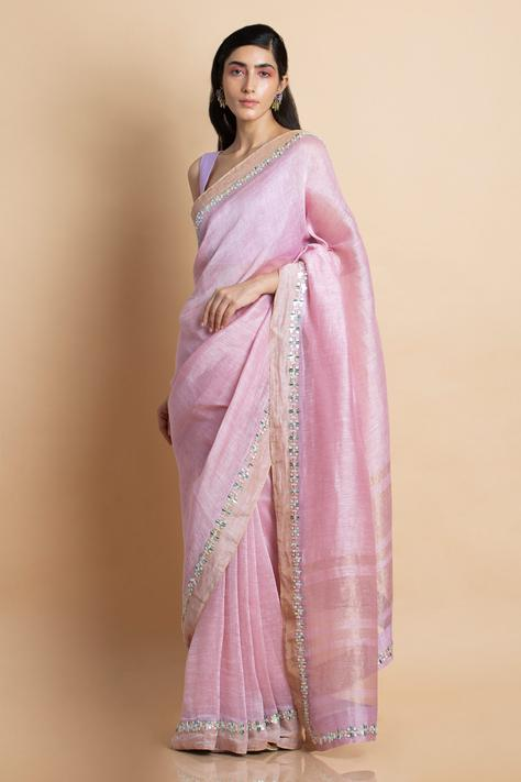 Handwoven Linen Silk Saree with Unstitched Blouse Fabric