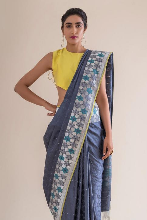 Handwoven Silk Saree with Running Blouse Fabric