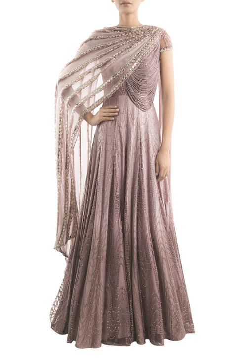 Embroidered Draped Anarkali Gown