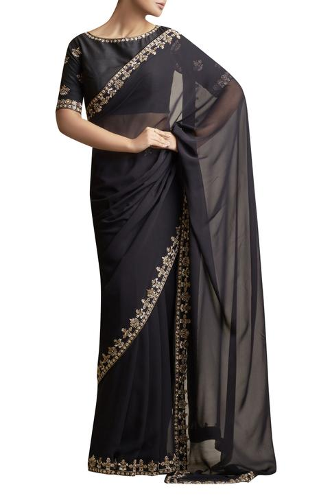 Saree with Metallic Embroidery & blouse